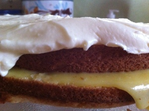 white cake with lemon