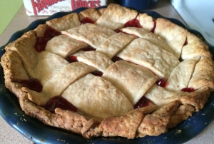 cherry pie with plaid lattice